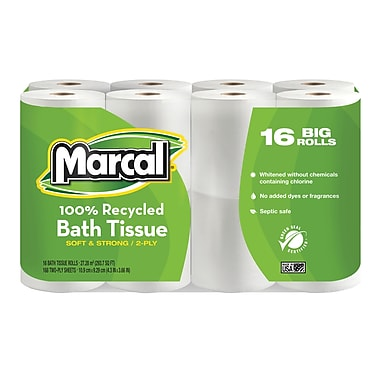 Marcal 100% Recycled Bath Tissue, 2-Ply, White, 168 Sheets/Roll, 16 Rolls/Case (16466)