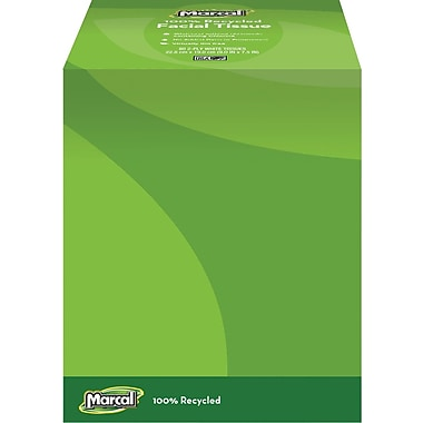 Marcal 100% Recycled Facial Tissue, Cube Box, 80 Sheets/Box, 6 Boxes/Case (4034)