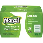 Marcal 100% Recycled Bath Tissue, White, 2-Ply, 168 Sheets/Roll, 24 Rolls/Case (6024)