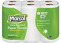 Marcal 2-Ply 100% Recycled U-Size-It Paper Towel Rolls 140 Sheets/Roll 24 Rolls/Case