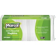 Marcal 100% Recycled Paper Napkins, 1-Ply, 400/Pack