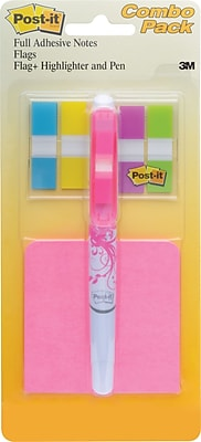 """Post-it® Flags Value Pack, 3"""" x 3"""" Full Adhesive Notes, 1/2"""" Wide Flags, plus 3-in-1 with Pen, Highlighter, Flags"""