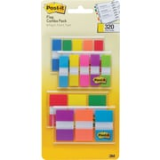 "Post-it® 1/2"" and 1"" Flags, Bright Color Combo Pack, 320 Flags/in Four On-The-Go Dispensers (683-XL1)"