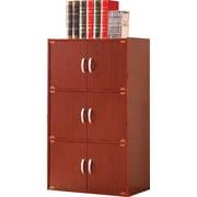 Hodedah HID33 6-Door Wood Storage Cabinets, Mahogany