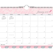 "2016 Day-Timer® Tabbed Wall Calendar, 11"" x 8 1/2"", White/Pink, (D11259-1601)"