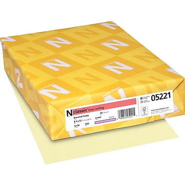 Neenah Paper Classic® 8 1/2in. x 11in. 24 lbs. Linen Writing Paper, Baronial Ivory, 500/Ream