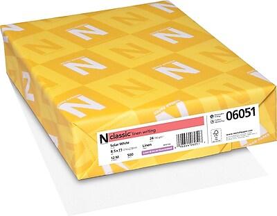 Neenah Paper Classic 8 1 2 x 11 24 lbs. Linen Writing Paper Solar White 500 Ream