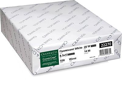 CRANE S CREST 8 1 2 x 11 28 lb. Wove Finish Fluorescent White 500 Ream