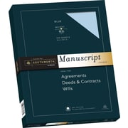 "SOUTHWORTH 25% Cotton Manuscript Covers, 9"" x 12 1/2"", 30 lb., Smooth Finish, Blue, 100/Box"