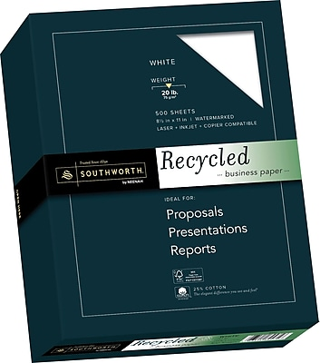 SOUTHWORT 25% Cotton Recycled Business Paper 8 1 2 x 11 20 lb. Wove Finish White 500 Box