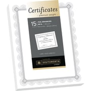 "SOUTHWORTH Premium Weight Certificates, Foil Enhanced Spiro Design, 8 1/2"" x 11"", 66 lb., White/Silver, 15/Pack"