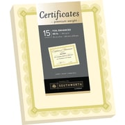 "SOUTHWORTH Premium Weight Certificates, Foil Enhanced Spiro Design, 8 1/2"" x 11"", 66 lb., Ivory/Gold, 15/Pack"