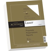 "SOUTHWORTH Premium Laser Paper, 8 1/2"" x 11"", 32 lb., Smooth Finish, Wicked White, 300/Box"