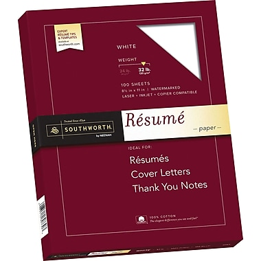 SOUTHWORTH 100% Cotton Resume Paper, 8 1/2