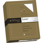 "SOUTHWORTH Laser Paper, 8 1/2"" x 11"", 24 lb., Smooth Finish, White, 500/Box"