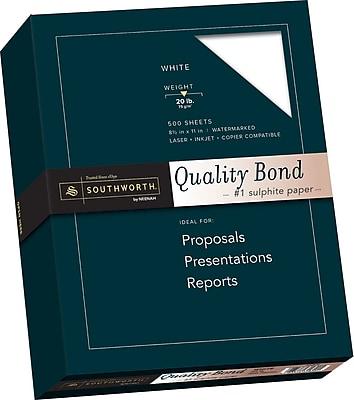 SOUTHWORTH Quality Bond Paper 8 1 2 x 11 20 lb. Wove Finish White 500 Box