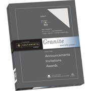 "SOUTHWORTH Granite Specialty Paper, 8 1/2"" x 11"", 24 lb., Granite Finish, Gray, 100/Box"