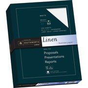 "SOUTHWORTH Linen Business Paper, 8 1/2"" x 11"", 32 lb., Linen Finish, White, 250/Box"