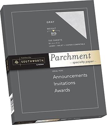 SOUTHWORTH Parchment Specialty Paper 8 1 2 x 11 24 lb. Parchment Finish Gray 100 Box