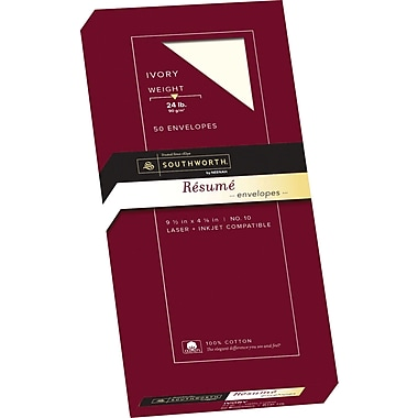 southworth 100 cotton resume envelopes 10 24 lb wove