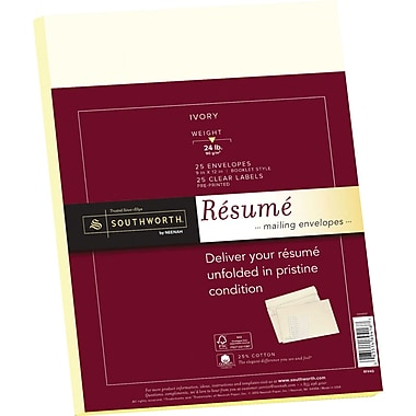 SOUTHWORTH® 25% Cotton Resume Envelope, 9