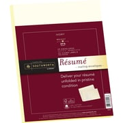 "SOUTHWORTH® 25% Cotton Resume Envelope, 9"" X 12"", 24 lb., Wove Finish, Ivory, 25/Box"