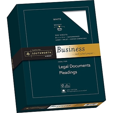 SOUTHWORTH 25% Cotton Ruled Business Paper, 8 1/2
