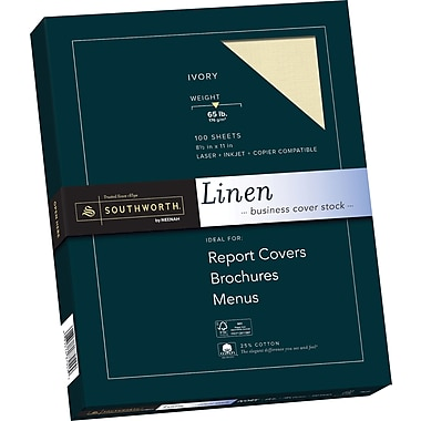 SOUTHWORTH Linen Business Cover Stock, 8 1/2