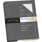 "SOUTHWORTH Parchment Specialty Cover Stock, 8 1/2"" x 11"", 65 lb., Parchment Finish, Ivory, 100/Box"
