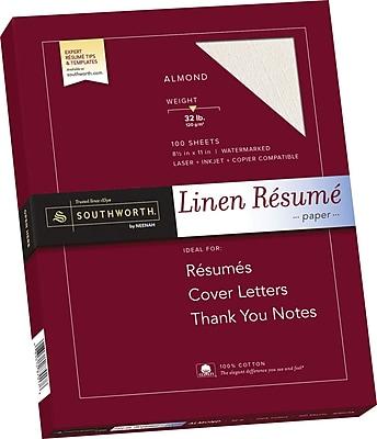 SOUTHWORTH Linen Resume Paper 8 1 2 x 11 32 lb. Linen Finish Almond 100 Box