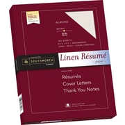 "SOUTHWORTH Linen Resume Paper, 8 1/2"" x 11"", 32 lb., Linen Finish, Almond, 100/Box"