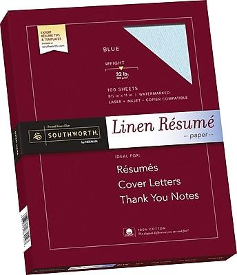 Southworth 100% Cotton Premium Weight Linen Resume Paper Blue 8 1 2 W x 11 L 100 Box