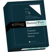 "SOUTHWORTH 25% Cotton Diamond White Business Paper, 8 1/2"" x 11"", 24 lb., Wove Finish, White, 500/Box"