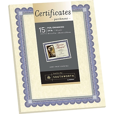 SOUTHWORTH Foil Enhanced Parchment Certificates, 8 1/2