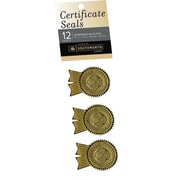 "SOUTHWORTH Certificate Seals, 1 1/4"" x 2"", Foil, Gold Excellence, 12/Pack"