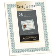 "SOUTHWORTH Parchment Certificates, 8 1/2"" x 11"", 24 lb., Parchment Finish, Ivory, 25/Pack"