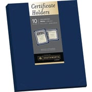 "SOUTHWORTH Certificate Holders, 9 1/2"" x 12"", 105 lb., Linen Finish, Navy, 10/Pack"