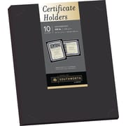 "SOUTHWORTH Certificate Holders, 9 1/2"" x 12"", 105 lb., Linen Finish, Black, 10/Pack"