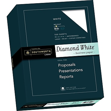 SOUTHWORTH® 25% Cotton Diamond White® Business Paper, 8 1/2