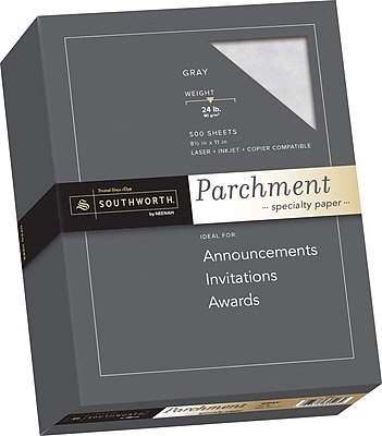 SOUTHWORTH Parchment Specialty Paper 8 1 2 x 11 24 lb. Parchment Finish Gray 500 Box
