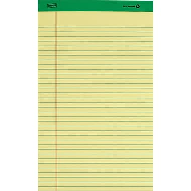 Staples® 100% Recycled Legal Pad, 8-1/2