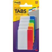 "Post-it® 2"" Tabs, Solid Assorted Primary Colors, 30 Tabs/Pack"