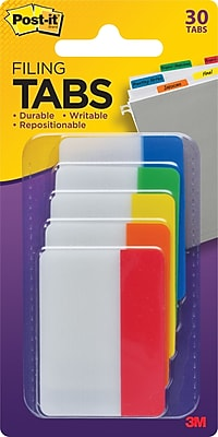Post-it® 2 Tabs, Solid Assorted Primary Colors, 30