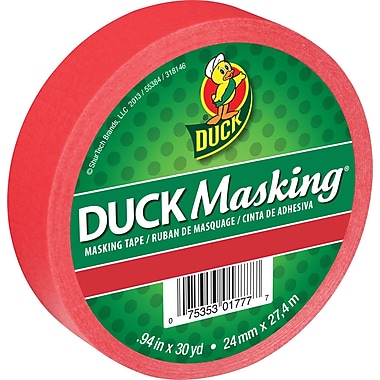 Duck – Ruban de masquage de couleur, 0,94 po x 30 verges, rouge