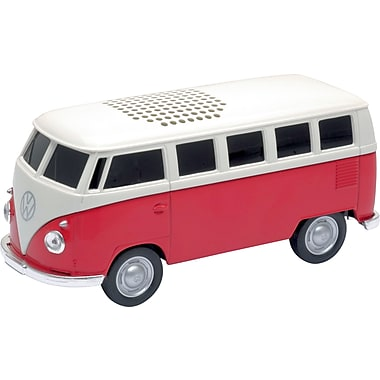 AutoDrive Volkswagen Bus Bluetooth Speaker, 12cm X 5.5cm X 4.5cm, Red