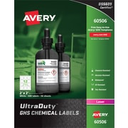 "Avery(TM) UltraDuty(R) GHS Chemical Labels for Laser Printers, 60506, 2"" x 2"", Box of 600, Polyester Film"