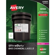 "Avery(R) UltraDuty(TM) GHS Chemical Labels for Laser Printers, 60502, 4-3/4"" x 7-3/4"", Box of 100, Polyester Film"