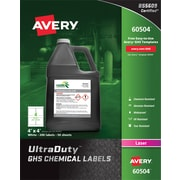 "Avery(TM) UltraDuty(R) GHS Chemical Labels for Laser Printers, 60504, 4"" x 4"", Box of 200, Polyester Film"