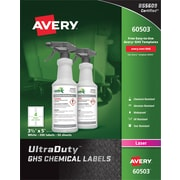 "Avery(R) UltraDuty(TM) GHS Chemical Labels for Laser Printers, 60503, 3-1/2"" x 5"", Box of 200, Polyester Film"