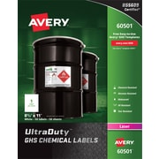 "Avery(R) UltraDuty(TM) GHS Chemical Labels for Laser Printers, 60501, 8-1/2"" x 11"", Box of 50, Polyester Film"
